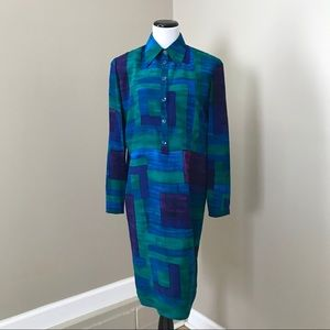 Vintage Blue Silk Long Sleeve Shirt Shift Dress